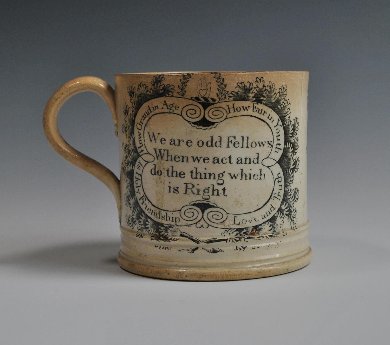 Antique Creamware Odd Fellows Tankard