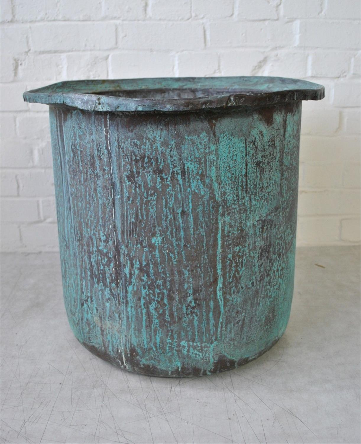 Large Copper Verdigris Vessel