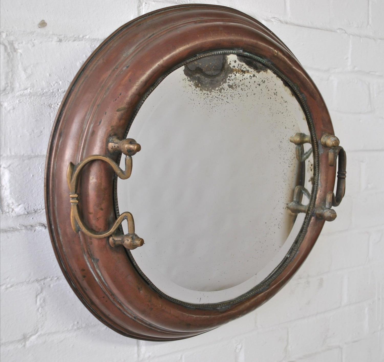 Unusual Antique Copper Frame Mirror