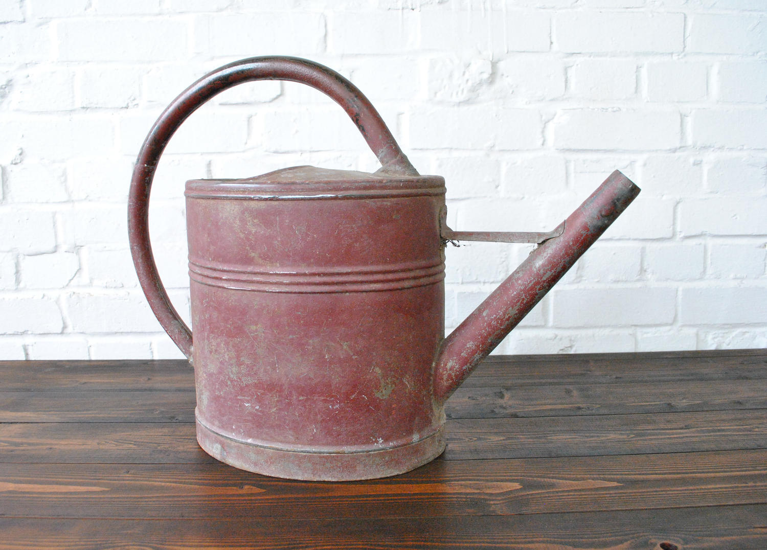 Vintage French Red Painted Watering Can