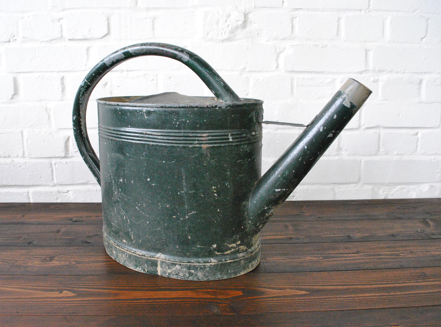 Vintage French Green Painted Watering Can