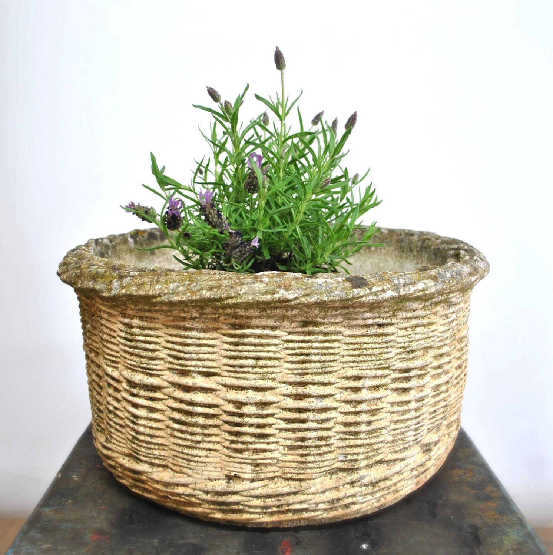 Vintage French Faux Basket Concrete Planter