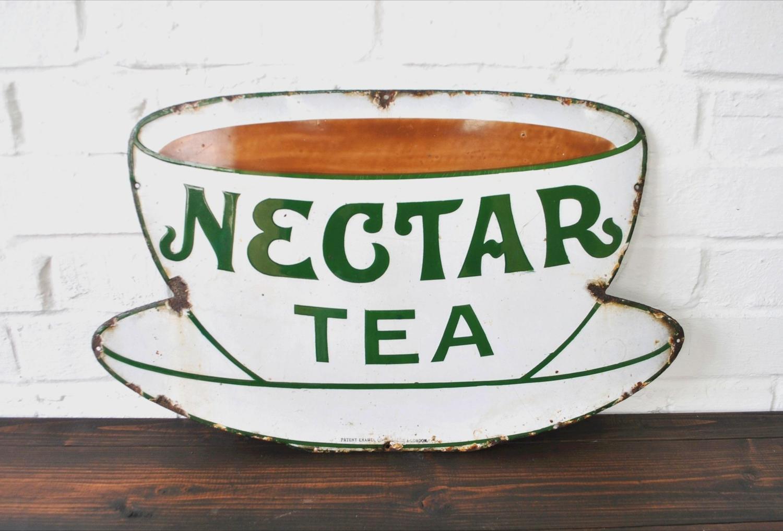 Early 20th Century Nectar Tea Enamel Sign