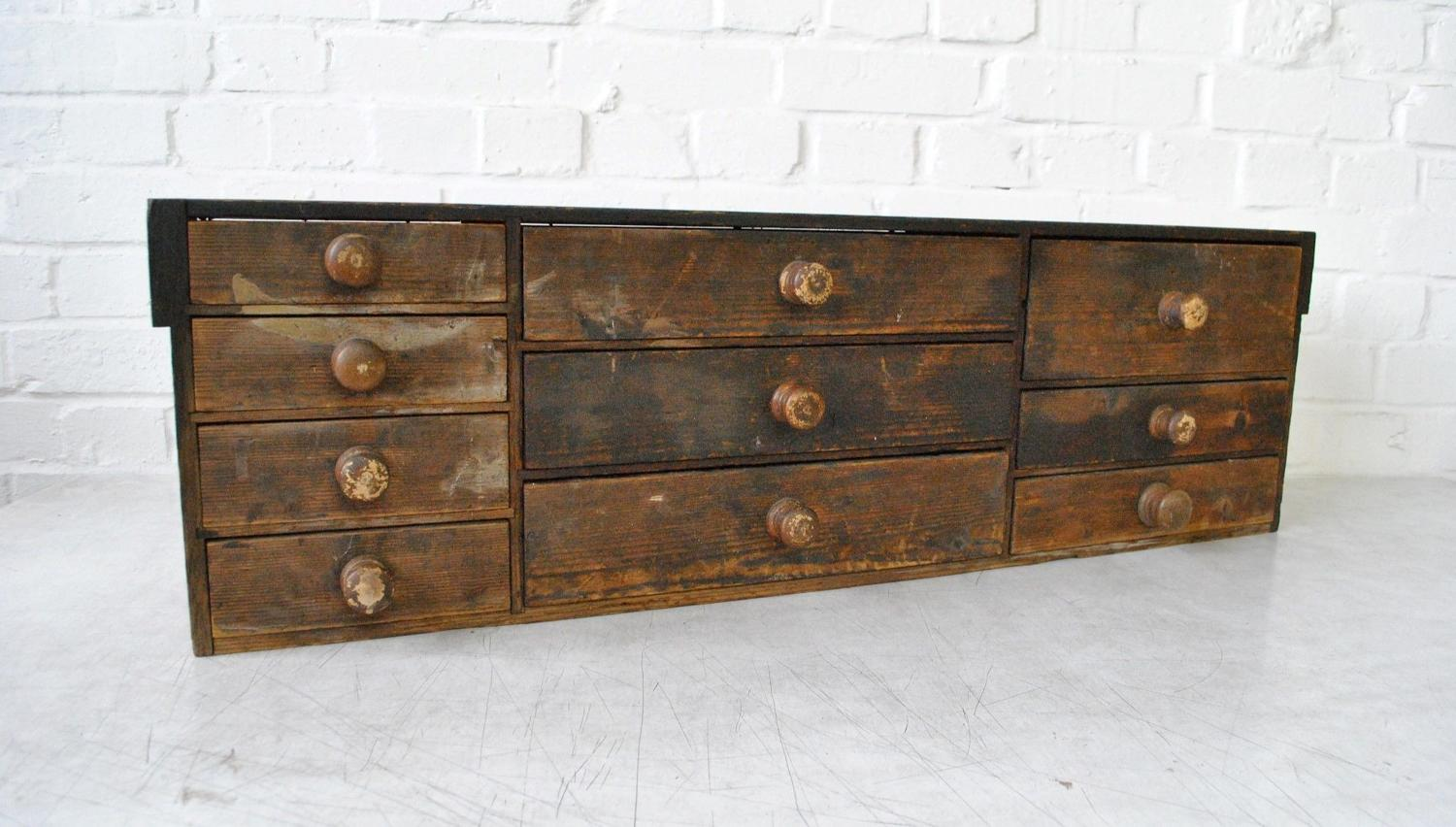19th Century Stained Pine Bank Of Drawers