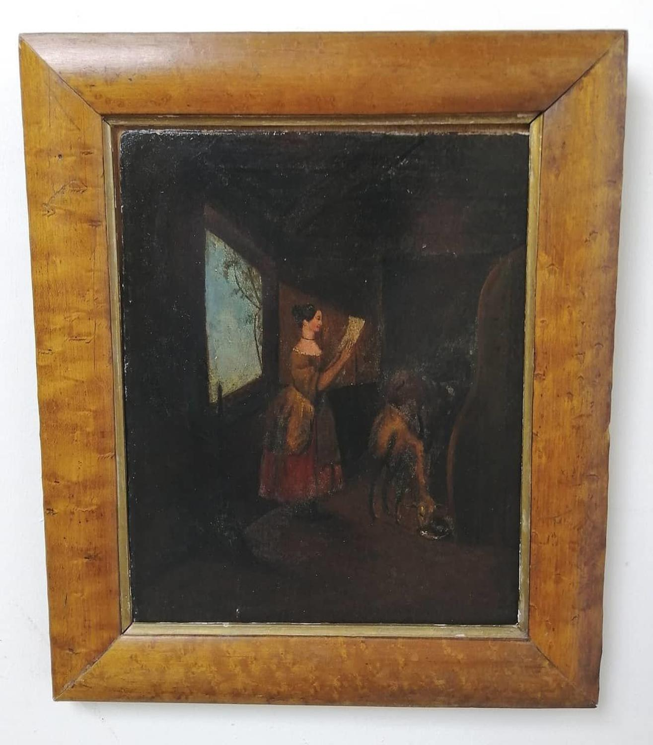 Primitive Early 19th Century Oil On Board
