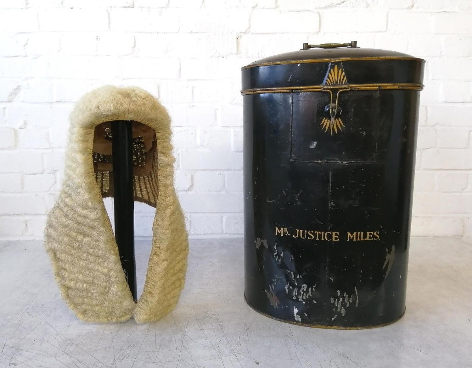 Victorian Full Length Judges Wig & Tin